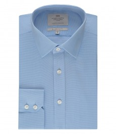 Мужская голубая приталенная рубашка, ткань переплетение basket