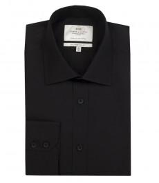 Мужская черная рубашка, ткань поплин, приталенная - манжеты на пуговицах
