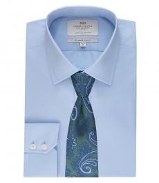Мужская голубая одноцветная приталенная бизнес рубашка с одинарной манжетой