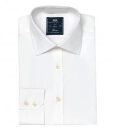 Мужская приталенная рубашка, белая поплин - манжеты на пуговицах - легко гладится