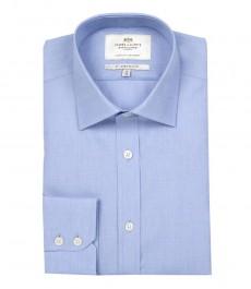 Приталенная мужская рубашка St James, голубая, ткань в рубчик, одиночная манжета