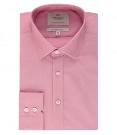 Мужская приталенная рубашка, красная, ткань-переплетение - манжеты на пуговицах