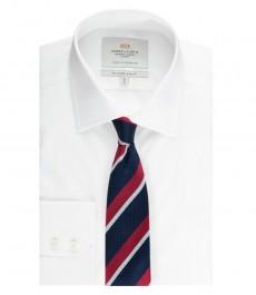 Мужская приталенная рубашка, белая, ткань переплетение End On End - манжеты на пуговицах - легко гладится