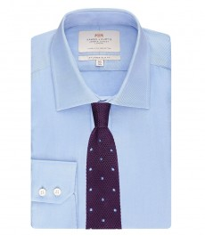 Мужская голубая приталенная рубашка ткань твил - Одинарная манжета