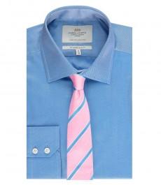 Мужская приталенная рубашка, голубая твил - манжеты на пуговицах - легко гладится