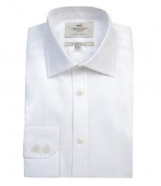 Мужская приталенная белая рубашка твил, одиночная манжета