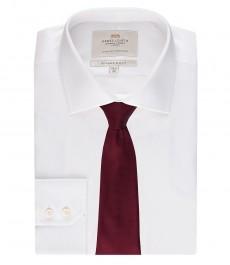 Мужская белая приталенная офисная рубашка ткань ёлочка - Одинарная манжета