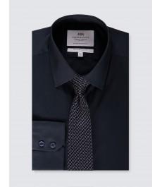 Мужская хлопковая офисная приталенная рубашка стрейч - рукав под пуговицу