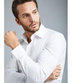 Мужская приталенная рубашка, белая стрейч - Манжеты на пуговицах