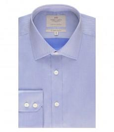 Мужская приталенная рубашка, голубая, ткань пике - манжеты на пуговицах - легко гладится