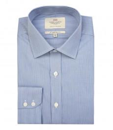 Мужская приталенная рубашка в голубую и белую мелкую полоску, хлопок - одинарная манжета.