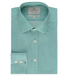 Мужская рубашка, зеленая в белую полоску, приталенная - манжеты на пуговицах