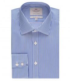 Мужская приталенная рубашка, ярко-синяя в белую бенгальскую полоску - манжеты на пуговицу