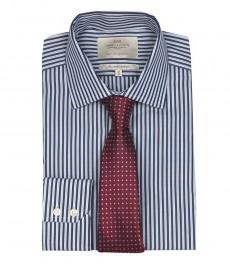Приталенная мужская рубашка St James, двухветная тёмно-синяя с белым полоска, одиночная манжета