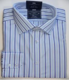Приталенная мужская рубашка St James, голубая с сиреневым разноцветная полоска, одиночная манжета
