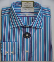 Приталенная мужская рубашка St James, голубая с розовым разноцветная полоска, одиночная манжета