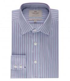Мужская голубая в сиреневую полоску рубашка, приталенная - манжеты на пуговицах