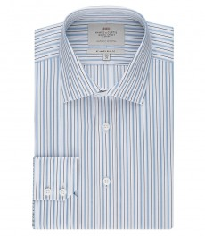 Мужская белая в голубую полоску рубашка, приталенная - манжеты на пуговицах