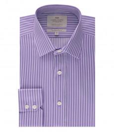 Мужская приталенная рубашка, сиреневая в белую полоску - манжеты на пуговицах