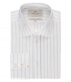 Мужская белая рубашка в темно-синюю тонкую полоску, приталенная - манжеты на пуговицах