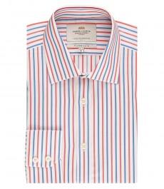 Мужская приталенная рубашка, красная в голубую полоску - манжеты на пуговицах
