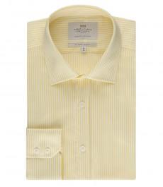 Мужская рубашка, желтая полоска, приталенная - манжеты на пуговицах