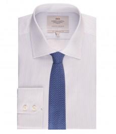 Мужская приталенная рубашка, белая в голубую полоску - манжеты на пуговицах - легко гладится