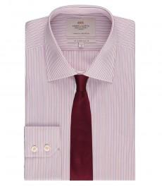 Мужская приталенная рубашка, красная в голубую полоску - манжеты на пуговицах - легко гладится
