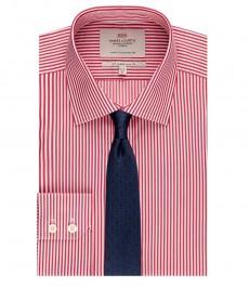 Мужская приталенная рубашка, красная в белую полоску - манжеты на пуговицах - легко гладится