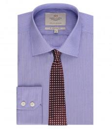 Мужская приталенная рубашка, голубая в фиолетовую полоску - манжеты на пуговицах - легко гладится