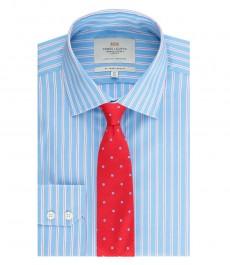 Мужская приталенная рубашка, голубая в розовую полоску - манжеты на пуговицах - легко гладится