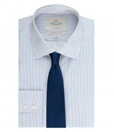 Мужская приталенная рубашка, голубая в желтую полоску - манжеты на пуговицах - легко гладится