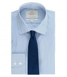 Мужская приталенная рубашка, ярко-голубая в белую полоску - манжеты на пуговицах - легко гладится