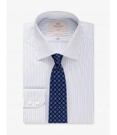 Мужская офисная приталенная рубашка St James, в голубую с белым полоску - под пуговицу - не требует глажки