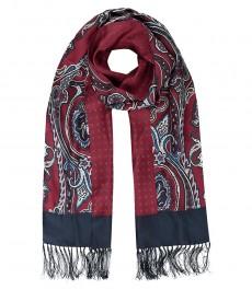 Шелковый мужской шарф, винный пейсли, геометрия