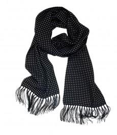 Мужской черный шерстяной шарф, в белый горох