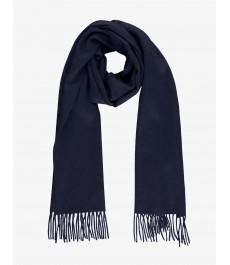 Однотонный тёмно-синий шарф, 100% кашемир