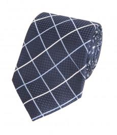 Мужской галстук в темно-синюю и голубую крупную клетку - 100% шелк