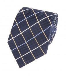 Мужской шелковый галстук, темно-синий в желтую крупную клетку