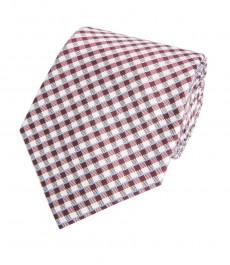 Мужской галстук, фиолетовый в белую клетку - 100% шелк