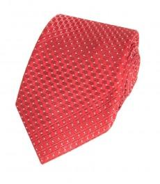 Мужской галстук, красный принт - 100% шелк