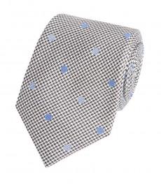 Мужской серый галстук, в два тона в крапинку - 100% шелк