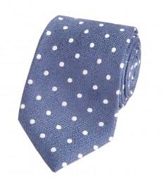 Мужской галстук, голубой в белую крапинку - 100% шелк