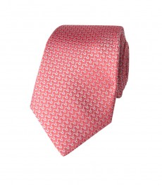 Men's Coral Geometric Dots Tie - 100% Silk