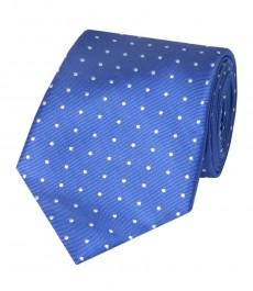Мужской галстук, голубой в белую точку 100% шелк