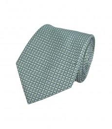 Мужской галстук, зеленый в мелкий квадрат - 100% шелк