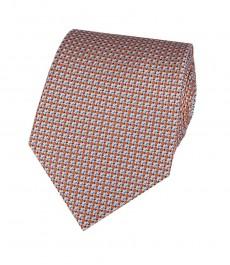 Мужской галстук, оранжевый, мелкий квадрат - 100% шёлк