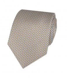 Мужской галстук, желтый, в мелкий квадрат - 100% шёлк
