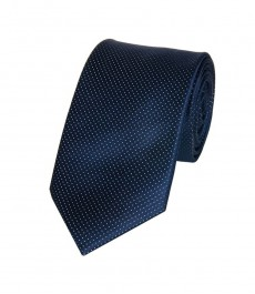 Мужской галстук темно-синий в крапинку - 100% шелк