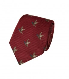 Мужской галстук винного цвета с утками - 100% шёлк